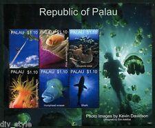 Marine Life mnh souvenir sheet 2013 Palau diver with jellyfish in margin
