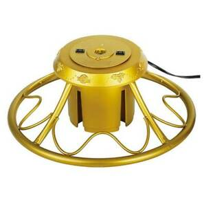 Home Heritage Electric Rotating Metal Stand for Artificial Christmas Trees, Gold