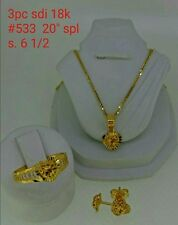 GoldNMore: 18K Jewelry Set Gold 20 inches Necklace Pendant Earrings Ring 5.33G