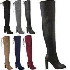 Ladies Over The Knee Suede Block Heel BOOTS Red Size 3 With Zip