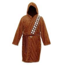 Chewbacca Star Wars Fleece Robe Brown Sash over Shoulder With Hood Brown Belt Ad