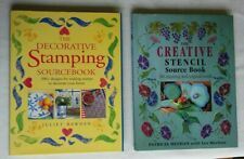 2 JOBLOT CRAFT SOURCE BOOKS  STENCIL MOTIFS AND DECORATIVE STAMPS HARDBACKS  VGC