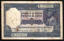 BRITISH INDIA 10 RUPEES P7B 1917 KING GEORGE V RARE BANK NOTE