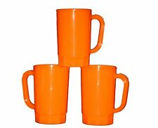 8 Large  32 oz Orange Plastic Beer Mugs  Made America Dishwasher Safe Top Shelf