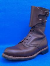 """VINTAGE GENUINE LEATHER BROWN BOOTS 10"""" of  Polish Army 1965-89  US 8  / 10 1/4"""""""