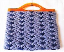 Sac ancien en tapisserie, doublé soie, fermoir en bakélite