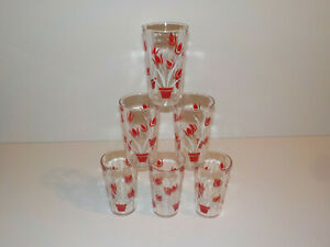 Vintage 6 pc Drinkware Tumbler Set TULIP DRINKING GLASS Red Potted MCM Flowers