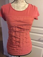 Ann Taylor XS Coral blouse with ruffles in front Cotton/Spandex/Polyester