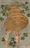 New Year - Cherub Children Giant Gold Bell c1910 Postcard