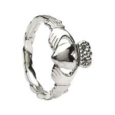 Sterling Silver Twist Shank Ladies Claddagh Ring 10.3mm