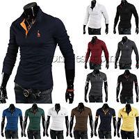 Men Stylish Slim Fit Cotton Long Sleeve Casual Polo Shirt T-shirt Tee Top POLO E