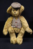 """J.K. BEARS Brown Mohair, Jointed, """"Laddie"""" Bear W/Hat & Vest, 10"""" Tall, 1991"""