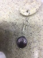 Vintage Handmade 925 Sterling Silver Genuine Grey Pearl Dangle Earrings