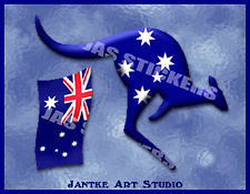 Aussie Kangaroo Car Decal Stickers For Car Motorbike Boat - STN121C
