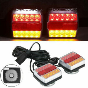 12V Magnetic LED Trailer Towing Lights Rear Tail Board Lamps Stop Car 7.5M Cable