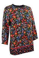 Womens Ladies Black Vibrant Colour Floral Long Sleeve Top Size 6-12 & 20
