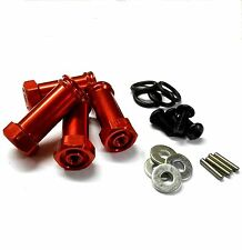 N10144 1/10 Scale Wheel Hex Hub M12 12mm Extension Adapter Alloy Red x 4 30mm