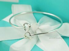 "AUTHENTIC Tiffany & Co. Sterling Double Open Heart Bangle Bracelet 7.5"" (#1080)"