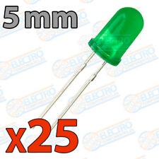 25x LED 5mm VERDE DIFUSO 20mA diodo diffuse diode green