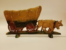 Covered Wagon Doorstop #222 Cast iron Conestoga Oxen Country Frontier Western