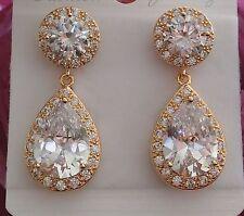 Clear Crystal Swarovski Element Tear Drop Dangle Wedding Bridal Gold Earrings