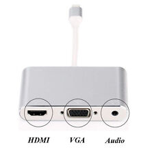 3in1 Adapter for iPhone 5 6 6s 7 7 Plus Video to HDMI TV / VGA Projector Audio