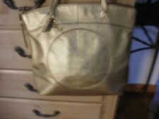 Coach Gold Leather Signature Op Art Laura Tote Embossed Carry All F18336