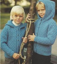 Jacket with Hood Boys and Girls Knitting Pattern Aran 1037