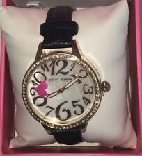 Betsey Johnson Womens Watch Black Leather Band Crystals Heart New