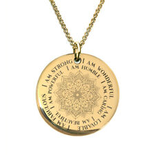 Gold Mandala I am Mantra Necklace Laser Engraved
