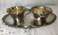 Vintage ALE N.S  Sweden Silver Plate Cream & Sugar with Tray