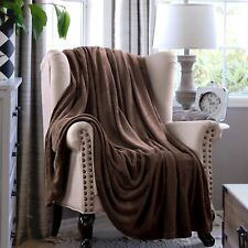 Luxurious Solid Velvet Velour Blanket King Size Chocolate Brown Machine Washable