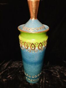 "Aldo Londi 18"" Covered Vase Rimini Blue Mid-century Modern Bitossi Italy"