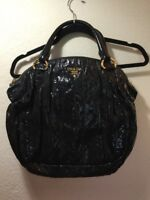 Authentic Auth PRADA Black Cervo Striped Patent Leather Satchel Tote Bag Hobo