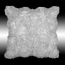 "LUXURY WHITE 3D RAISED RIBBON ROSES DECO THROW PILLOW CASE CUSHION COVER 16"""