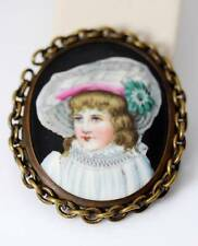 """Vintage Hand Painted Porcelain Brass Buckle w/Chain Frame 2-7/8"""" - 4725"""