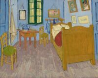 VINCENT VAN GOGH BEDROOM IN ARLES BED blue room art print on reproduction canvas
