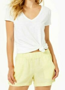 "4"" Lilo Linen Short Lillys Lemon X Resort White"