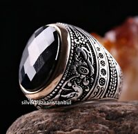 Turkish 925 Sterling Silver HANDMADE black onyx stone mens ring ALL SİZE us 6082
