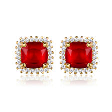 Ladies 24K Yellow Gold Filled Ruby Cubic zirconia Stud Earring Fashion Jewellery