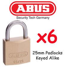 Abus 25mm Padlocks Keyed Alike x6 BULK LOT + 12 keys