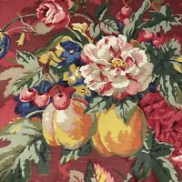 P Kaufmann Designer Fabric Drapery Upholstery Rich Red Floral & Fruit 2 yards