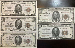 Reproduction Set 1929 Federal Reserve Bank Notes $5 $10 $20 $50 $100 Copies