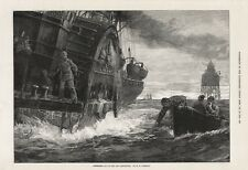 OLD 1876 PRINT PADDLE STEAMER DELIVERING MAIL TO LIGHTHOUSE by W H OVEREND b25