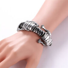 U7 Stainless Steel Cool Tiger Design Link Chain Cuff Bracelet Mens Biker Jewelry