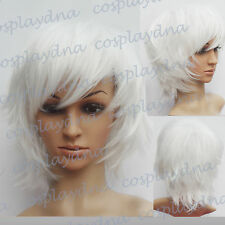 "16 "" Hi_Temp White Hand Spikeable Shaggy Cut  Short  Cosplay DNA Wigs 64101"