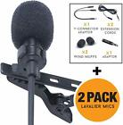 Lapel Microphone Lavalier Mic 2-Pack - Compatible With Most Devices, Hands Free