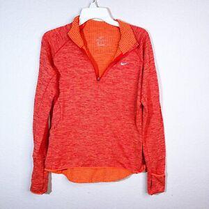 Nike womens pullover half zip runnig sweater orange size Medium