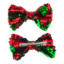 Lux Accessories Red Green Sequins Grosgrain Silver Tone Ribbon Bows Hair Clip