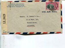 Trinidad & Tobago censor airmail cover to Argentina 1943